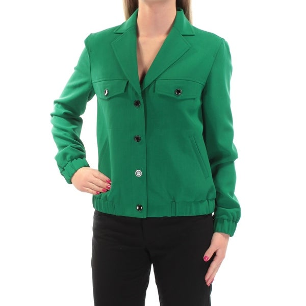 ANNE KLEIN Womens Green Elastic Waistband Blazer Wear To Work Jacket Size: 2