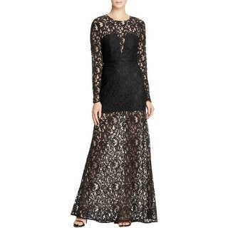 BCBG Max Azria Womens Veira Formal Dress Long Sleeves Illusion Lace