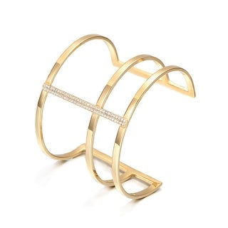 Large Power Bling Cuff Bracelet, Gold & Zircon