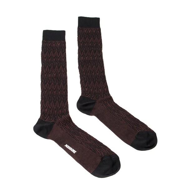 Missoni GM00CMU5239 0001 Maroon/Black Knee Length Socks - M