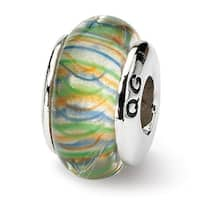 Sterling Silver Reflections Green Pastel Striped Hand-blown Glass Bead (4mm Diameter Hole)