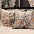 "Luxury Gray Purple Bird Round Printing Pillow 18""X18"" - Thumbnail 1"