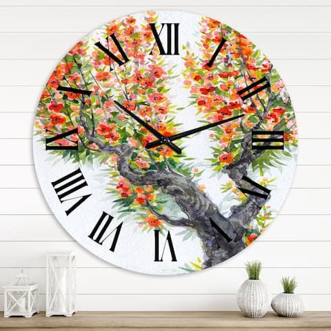 Designart 'Blooming Of An Old Tree In Spring II' Traditional wall clock