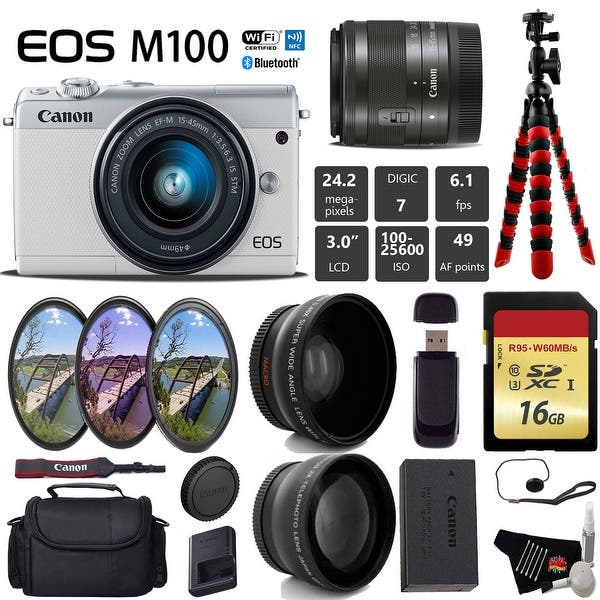 Shop Canon EOS M100 Mirrorless Digital Camera (White) with
