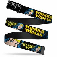 Wonder Woman Logo Reverse Brushed Silver  Cam Wonder Woman W Face Close Web Belt