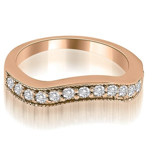0.50 cttw. 14K Rose Gold Curved Round Cut Diamond Wedding Ring