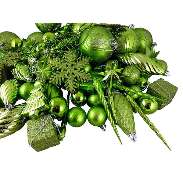 125-Piece Club Pack of Shatterproof Tropical Green Kiwi Christmas Ornaments