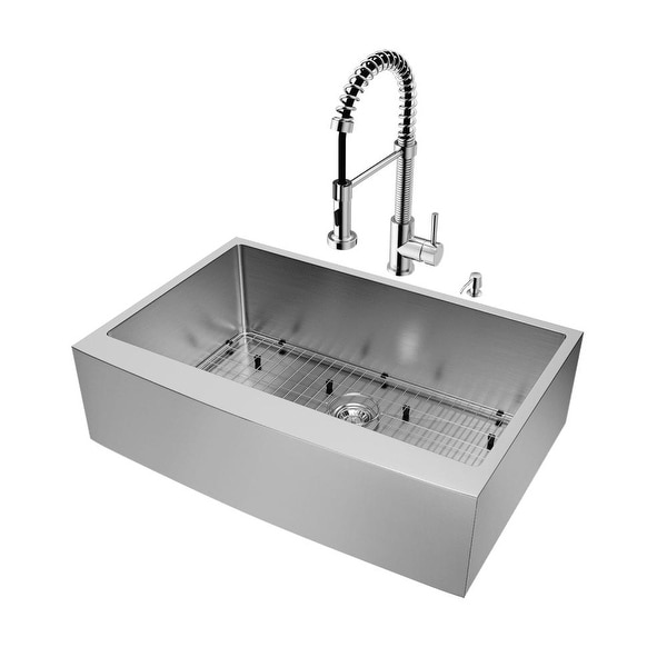 Vigo Vg15201 33 Single Basin Farmhouse A Front Kitchen Sink With Edison Chr Stainless Steel N Free Shipping Today