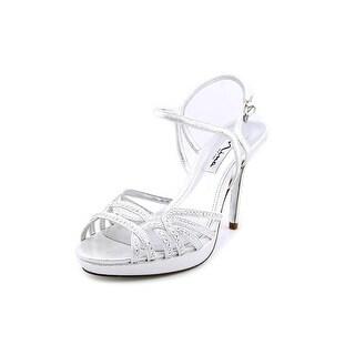 Nina Flirty Women Open Toe Canvas Silver Sandals