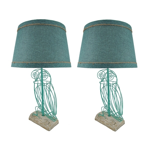Shop Pair of Turquoise Blue Wire Owl Table Lamps with Linen Shades ...