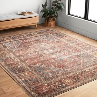 "Alexander Home Tremezzina Printed Geometric Distressed Area Rug - 7'6"" x 9'6"""