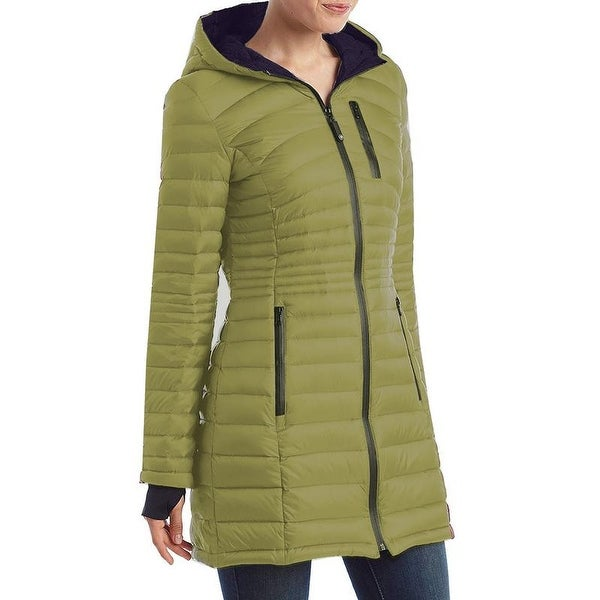 HFX Halifax Women s Pea Green Down Packable Hooded Coat