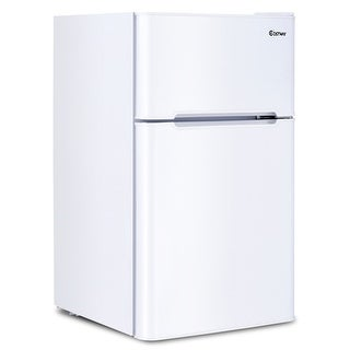 Costway Stainless Steel Refrigerator Small Freezer Cooler Fridge Compact 3.2 cu ft. Unit - White