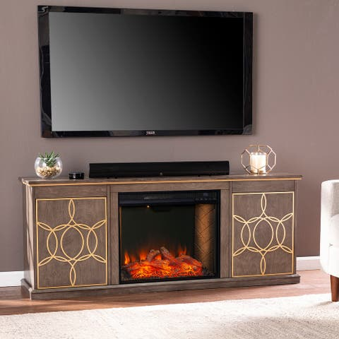 The Curated Nomad Ysidro Brown Alexa-Enabled Fireplace Console