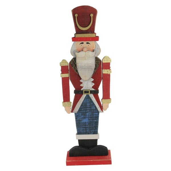 "21"" Red and Blue Painted Wooden Standing LED Decorative Nutcracker - GOLD"