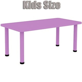 2xhome - Purple - Kids Table - Height Adjustable 18.25 inches to 19.25 inches - Rectangle Plastic Activity Table with Metal Legs