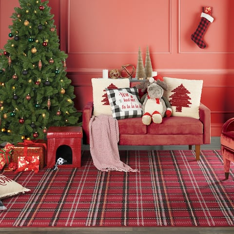 "Mina Victory Plushlines Holiday Moose Red Scarf Brown Plush Animal 1'10"" x 2'2"""