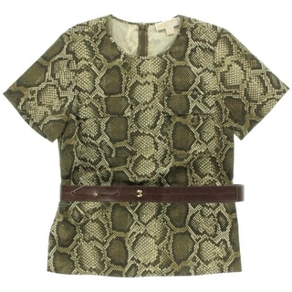 MICHAEL Michael Kors Womens Snake Print Short Sleeves Dress Top - 8