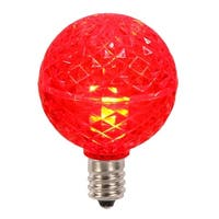 Club Pack of 25 LED G40 Red Faceted Replacement Christmas Light Bulbs