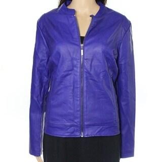 Alfani NEW Purple Womens Size Large L Seamed Perforated Moto Jacket