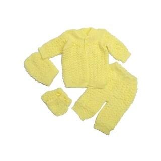 Baby Girls Multi Cardigan Sweater Crochet Hat Pants Mittens 4 Pc Set 0-3M