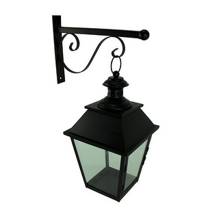 Black Metal and Glass Hanging Candle Lantern with Decorative Wall Bracket - 18.5 X 12 X 8 inches