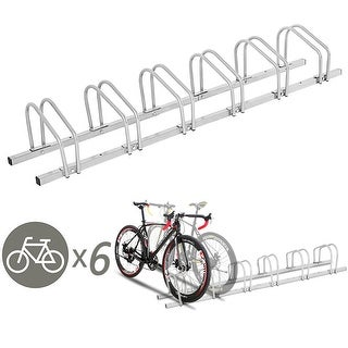 Gymax 6 Bike Bicycle Stand Parking Garage Storage Cycling Rack Silver