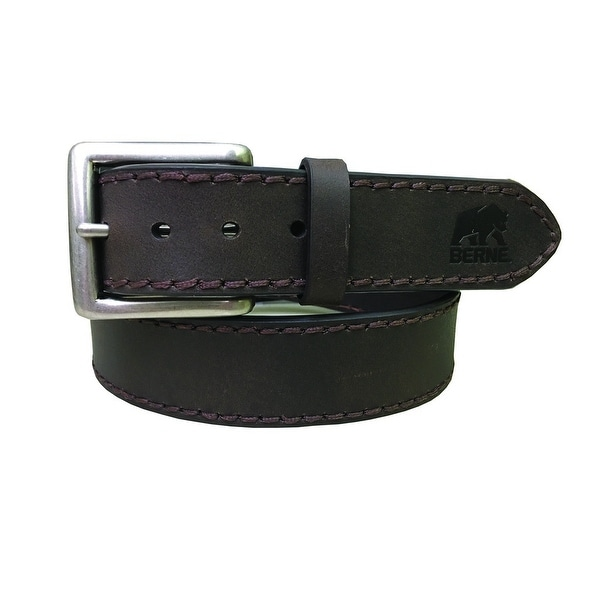 Berne Work Belt Mens Heavy Stitch Genuine Leather Silver Brown