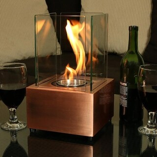 Sunnydaze Cubic Ventless Bio Ethanol Tabletop Indoor Fireplace - Copper