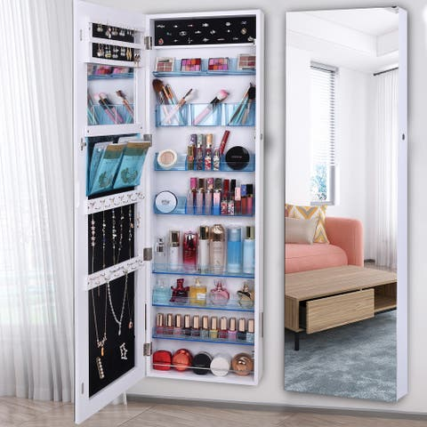 Full Mirror Makeup 8-layer Acrylic Storage Cabinet Covered Jewelry