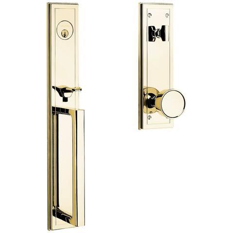 Baldwin 85311.ENTR Hollywood Hills Full Plate Single Cylinder Door Handleset with Interior K008 Knob and Emergency Egress