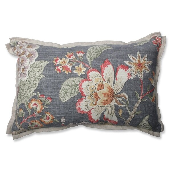 "18.5"" Vintage Blooms Gray Floral Rectangular Indoor Throw Pillow"