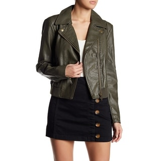 Free People Modern Faux Leather Bomber Jacket, Moss, Large