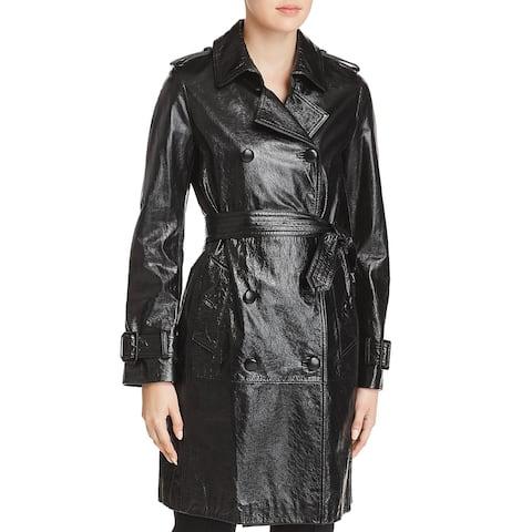Elie Tahari Womens Natania Trench Coat Lamb Leather Midi - Black