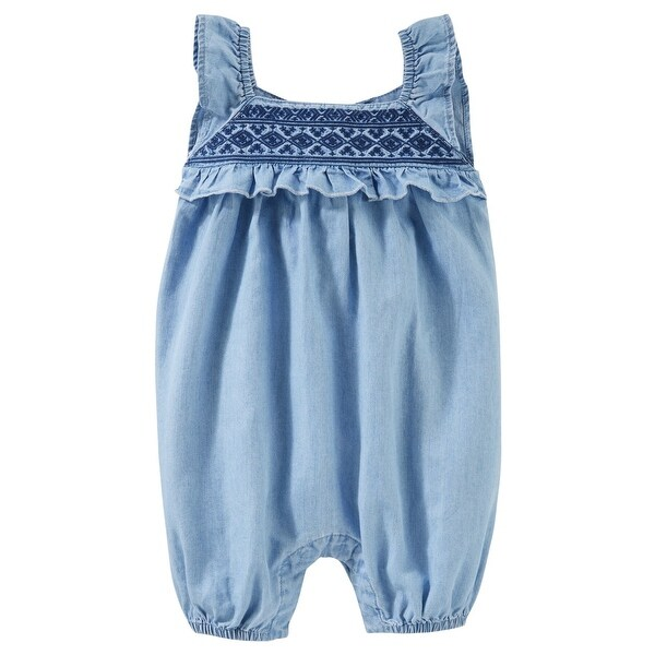 c417461be Shop OshKosh B'gosh Baby Girls' Chambray Romper, Denim, 12 Months - DENIM -  Free Shipping On Orders Over $45 - Overstock - 20931872