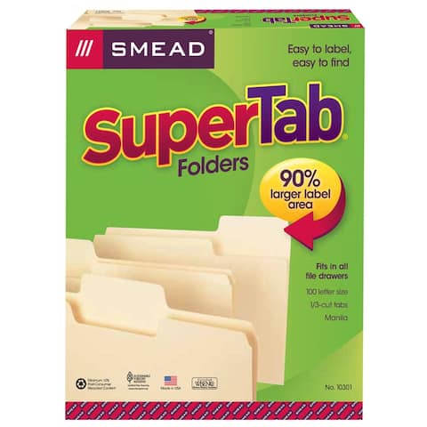 Smead smead supertab 100bx letter size 10301