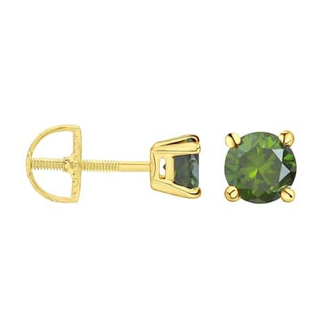 Prism Jewel 1/5 Ctw Round Cut Prong-Set Green Color Diamond Stud Earrings