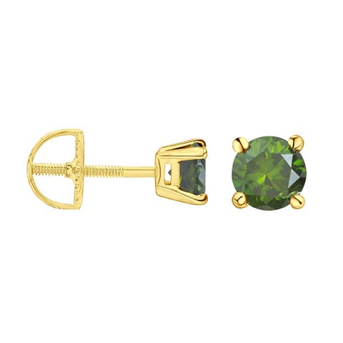 Prism Jewel 1/6 Ctw to 1 Ctw Round Green Color Diamond Solitaire Stud Earrings for Women