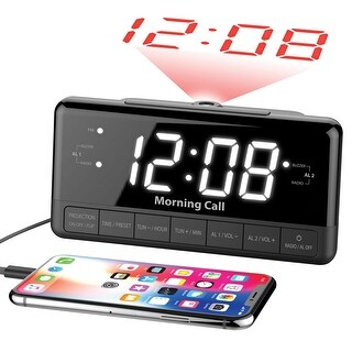 iLuv Projection Alarm Clock Radio with Large Display, Dual Alarms, FM Radio, USB Port