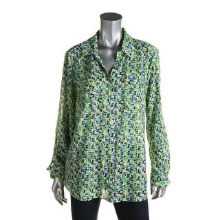NY Collection Womens Button-Down Top Chiffon Printed