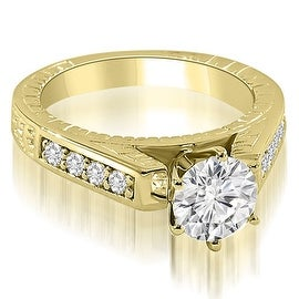 1.25 cttw. 14K Yellow Gold Antique Cathedral Round Cut Diamond Engagement Ring