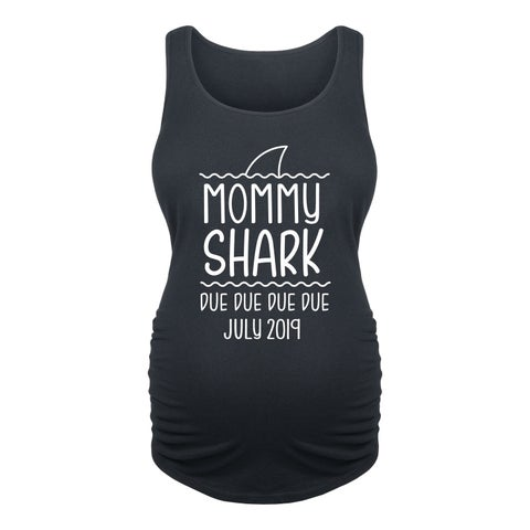 Mommy Shark July - Ladies Maternity Tank