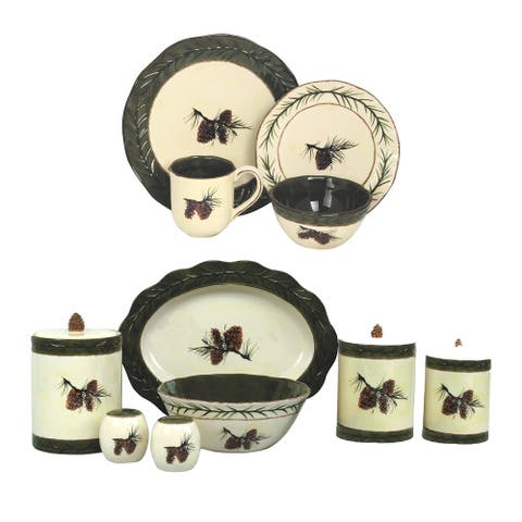HiEnd Accents Pine Cone Rustic 23 PC Dinnerware and Canister Set