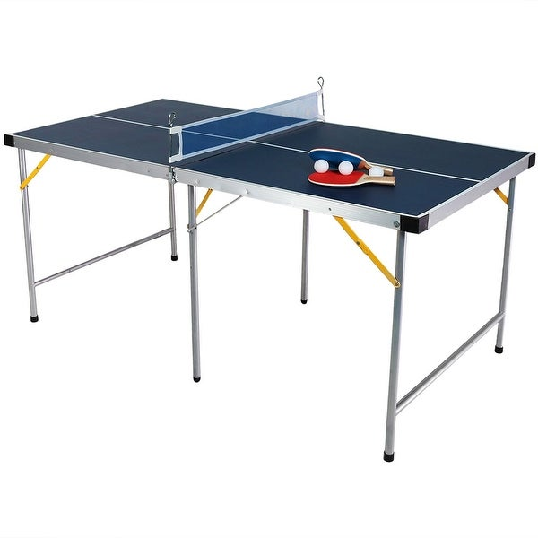 Sunnydaze 60 Inch Table Tennis Table Portable Folding Table and Accessories