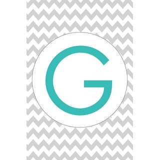 Monogram - Chevron - Gray & Teal - G (Cotton/Polyester Chef's Apron)