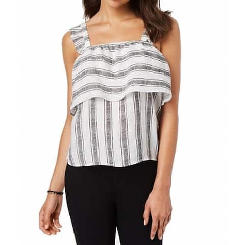 Almost Famous Women's Black Size Medium M Striped Popover Tank Cami Top