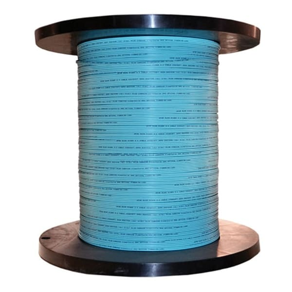 Offex 6 Fiber Indoor Distribution Fiber Optic Cable, Multimode, 50/125, OM3, 10 Gbit, Aqua, Riser Rated, Spool 1000 foot