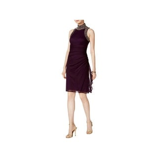 Betsy & Adam Womens Cocktail Dress Embellished Sheer