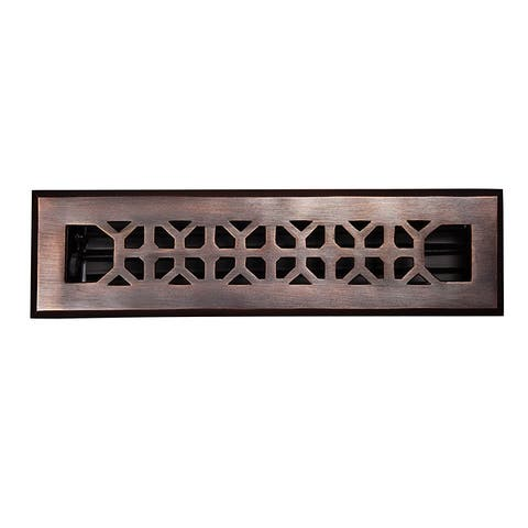 "The Copper Factory CF142 2 1/4 x 12"" Solid Cast Copper Decorative 2.25""x12"" Floor Register with Damper -"
