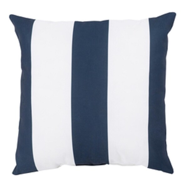 "20"" Navy Blue and Ivory Beach Striped Decorative Throw Pillow"